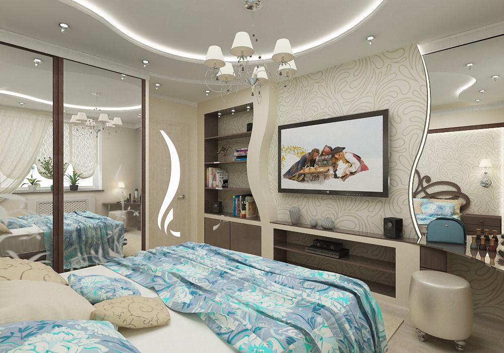 Дизайн спальни из гипсокартона фото спальни