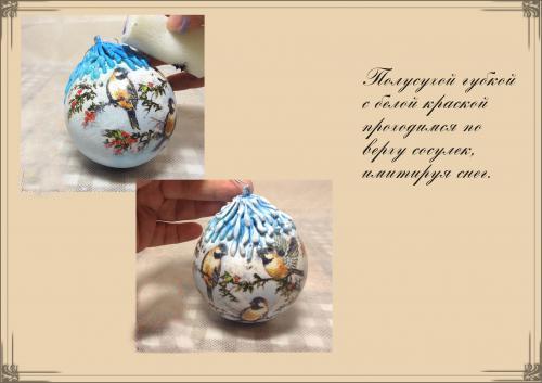 Декупаж новогодних шариков фото 9