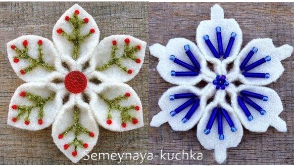 Новогодние игрушки из фетра: выкройки снежинок 5