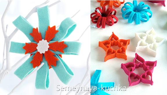 Новогодние игрушки из фетра: выкройки снежинок 7