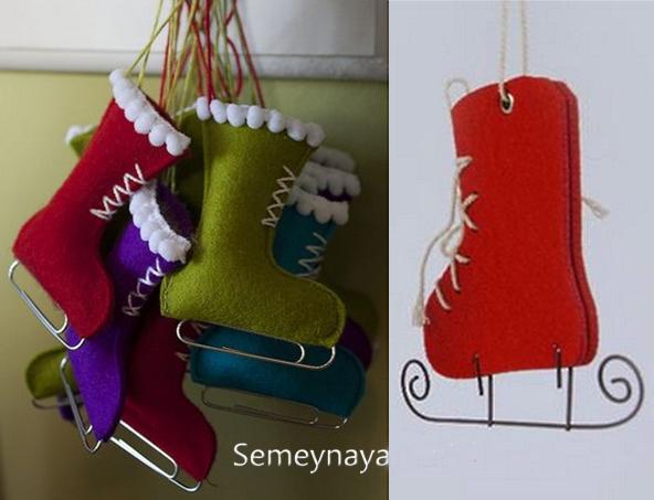 Новогодние игрушки из фетра: коньки