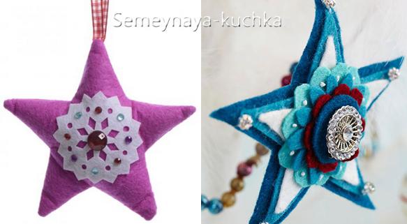 Новогодние игрушки из фетра: выкройки звезд 2