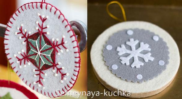 Новогодние игрушки из фетра: выкройки снежинок 2