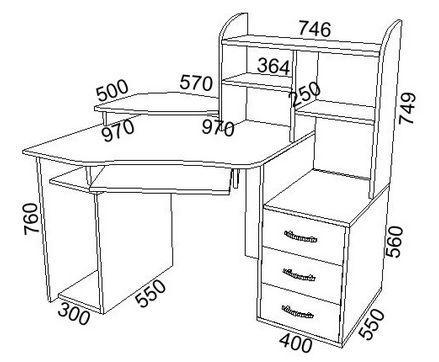 Чертеж письменного стола с размерами OFFICE /CRAFT ROOM 57