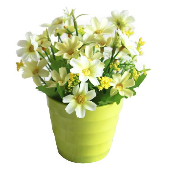 Искусственные цветы в горшках своими руками фото