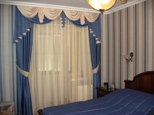 Дизайн гардин и штор в спальню фото