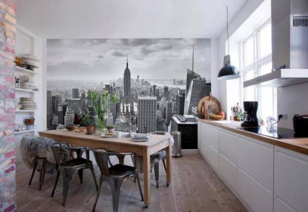 фотообои в интерьере на кухне фото