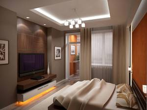 Телевизор в спальне на стене