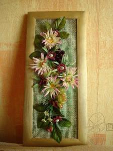 Искусственные цветы: панно детскими руками